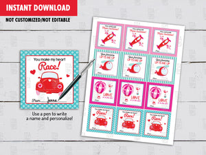 Valentine's Day Favor Tags, 4 Designs, Hot Air Balloon, Helicopter, Plane, Beetle Car, Printable Instant Download - TitaTipsPrintables