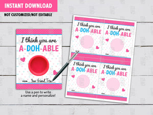 Valentine's Day Play-Dough Card DIY Printable, You are A-DOH-ABLE Exchange Tag, Instant Download - TitaTipsPrintables