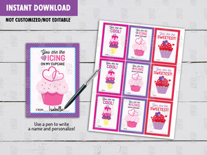 Cupcake Valentine's Day Card DIY Printable, Ice Cream Exchange Tag, Instant Download - TitaTipsPrintables