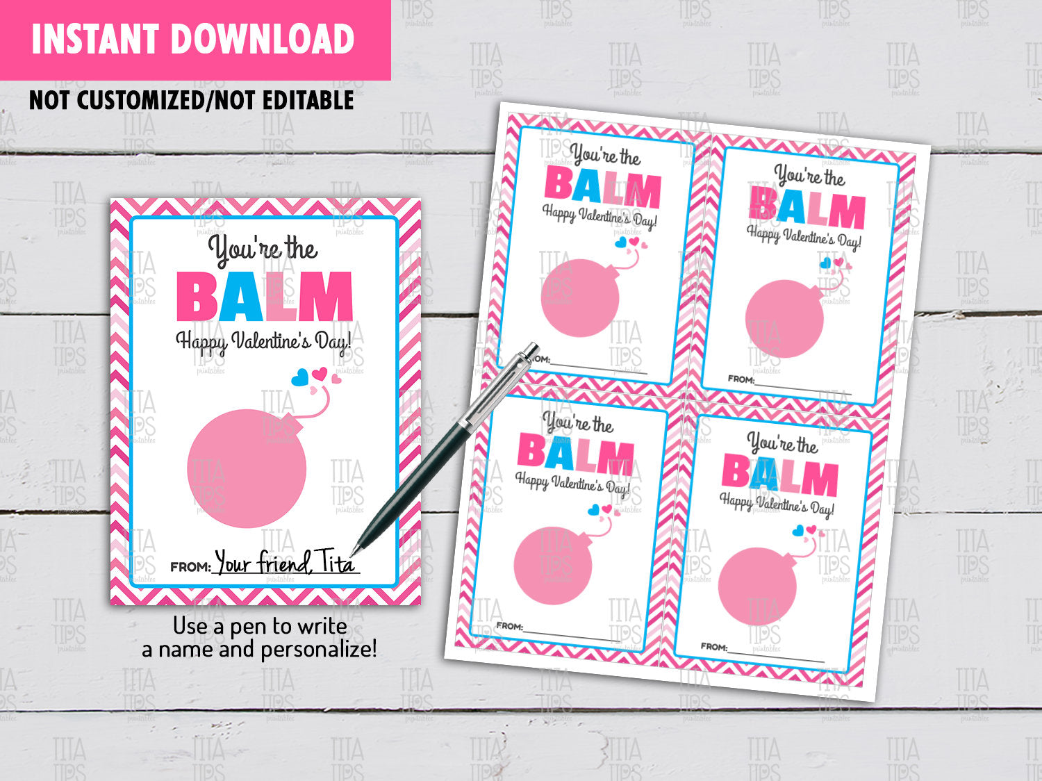You're the Balm Valentine's Day, Non Candy DIY Printable, Lip Balm Valentine Exchange Tag, Instant Download - TitaTipsPrintables
