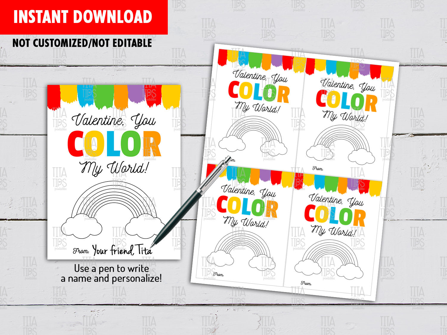 You Color My World Valentine's Day Card DIY Printable, Watercolor Paint, Non Candy, Exchange Tag, Instant Download - TitaTipsPrintables