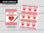Crazy Straw Valentine's Day Card DIY Printable, Sip Sip Hooray, Non Candy Exchange Tag, Instant Download - TitaTipsPrintables