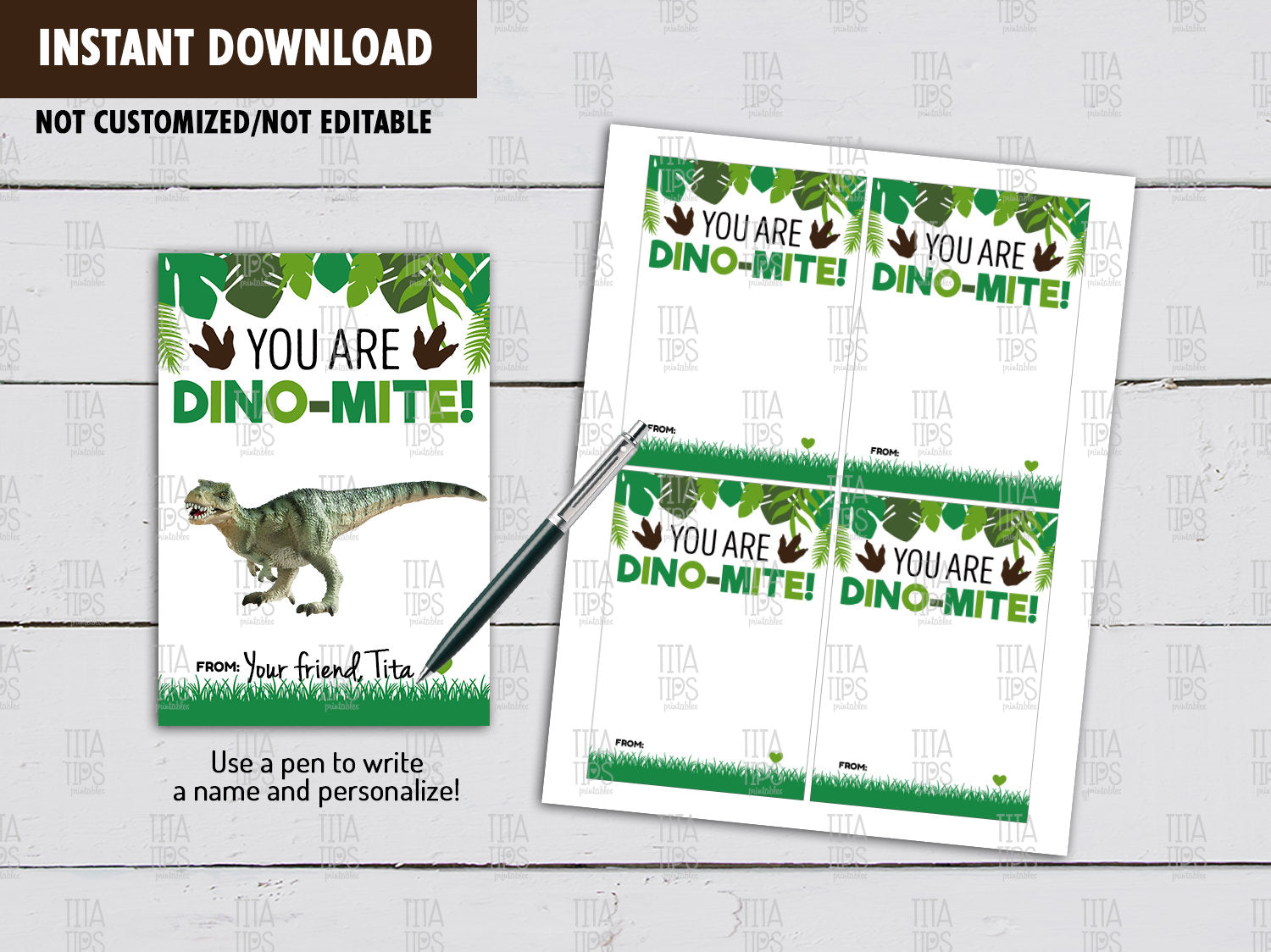 Dinosaur Holder Card DIY Printable, Non Candy Dinosaur Valentines Day Exchange Tag, Instant Download - TitaTipsPrintables