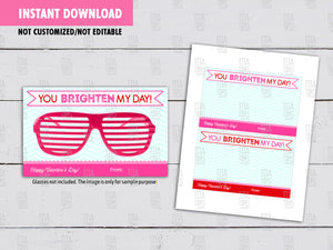 You BRIGHTEN My Day, Sunglasses Valentine's Day Card DIY Printable, Non Candy Eye Glasses Exchange Tag, Instant Download - TitaTipsPrintables