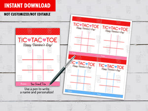 Tic Tac Toe Valentine's Card DIY Printable, Game Exchange Tag, Instant Download - TitaTipsPrintables