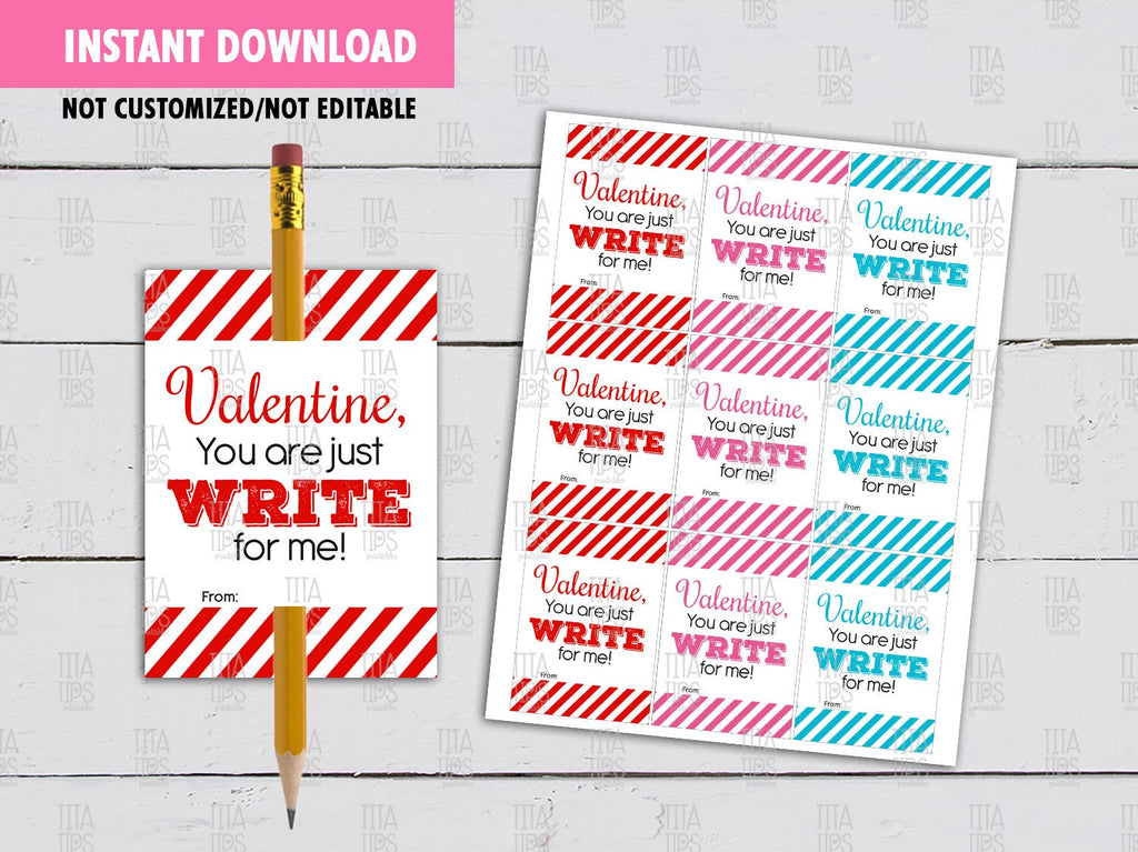 Pencil Holder Valentine's Day Card DIY Printable, You are just WRITE for me, Non Candy Exchange Tag, Instant Download - TitaTipsPrintables