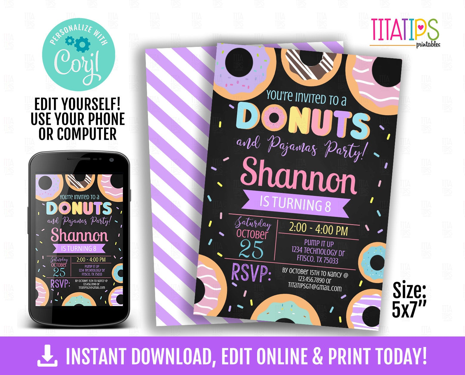 Donuts and Pajamas Birthday Editable Invitation, Chalkboard Invite, Instant Download, Doughnut Supplies Printables, Pajama themed - TitaTipsPrintables