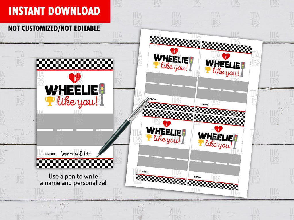 Valentine I wheelie like you Gift Tag, Race Car Valentine's Card, School Exchange, Instant Download - TitaTipsPrintables