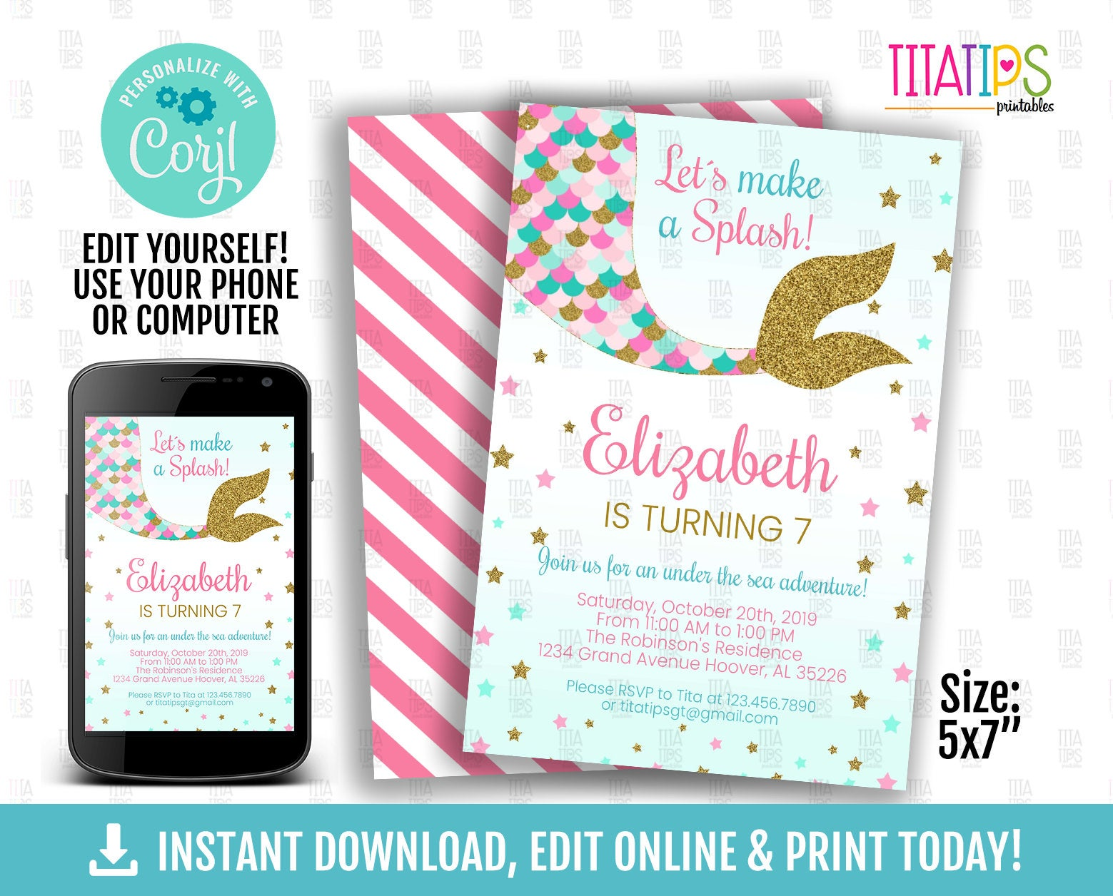 Little Mermaid Tail, Editable Invitation, Little Mermaid Birthday Invitations Pink Gold Mermaid Tail, Under the Sea Party, INSTANT DOWNLOAD - TitaTipsPrintables