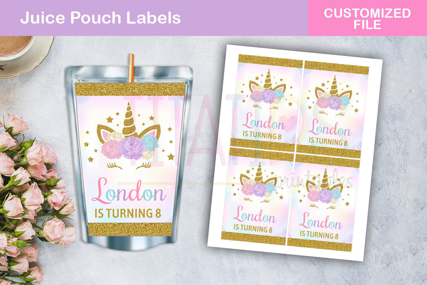 Unicorn Juice Pouch Label Printable, Floral Magical Unicorn Wrapper, Unicorn Party Supplies, Customized Digital File - TitaTipsPrintables