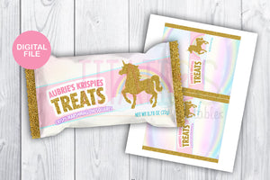 Unicorn Rice Krispies Treat Label, Floral Magical Unicorn Wrapper, Unicorn Party Supplies, Printable Customized Digital File - TitaTipsPrintables