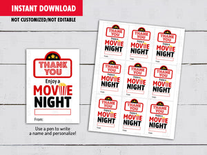 Movie Night Teacher Gift Tag, Teacher Appreciation Card, Instant Download - TitaTipsPrintables