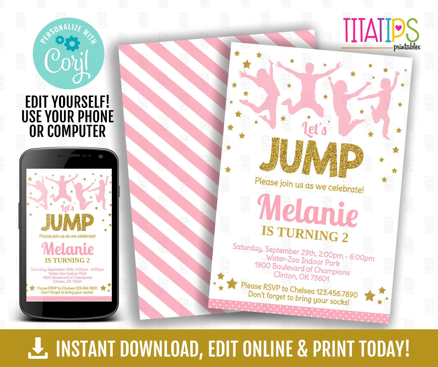Jump Editable Invitation, Glitter Trampoline Birthday Party Invite, Jumping Park Invitation, Girl Jumping Pink and Gold Printable, Bounce - TitaTipsPrintables