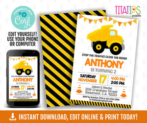 Editable Construction Birthday Invitation, Constructor Birthday Invitation, Construction Party,  Contruction Truck Invitation, Edit Yourself - TitaTipsPrintables
