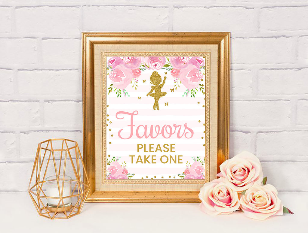 Ballerina Favors Sign, Tutu Dancer Baby Shower Decor, Instant Download - TitaTipsPrintables