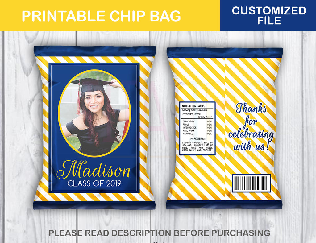 Personalized Prom Favor Chip Bag, Graduation Potato Chip Bag, Yellow and Blue colors, DIGITAL FILE - TitaTipsPrintables
