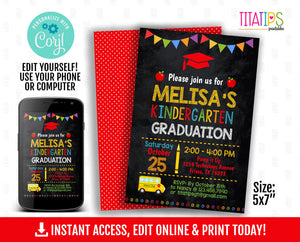 Editable Graduation Invitation, Kindergarten School Chalkboard Invite, DIGITAL FILE - TitaTipsPrintables