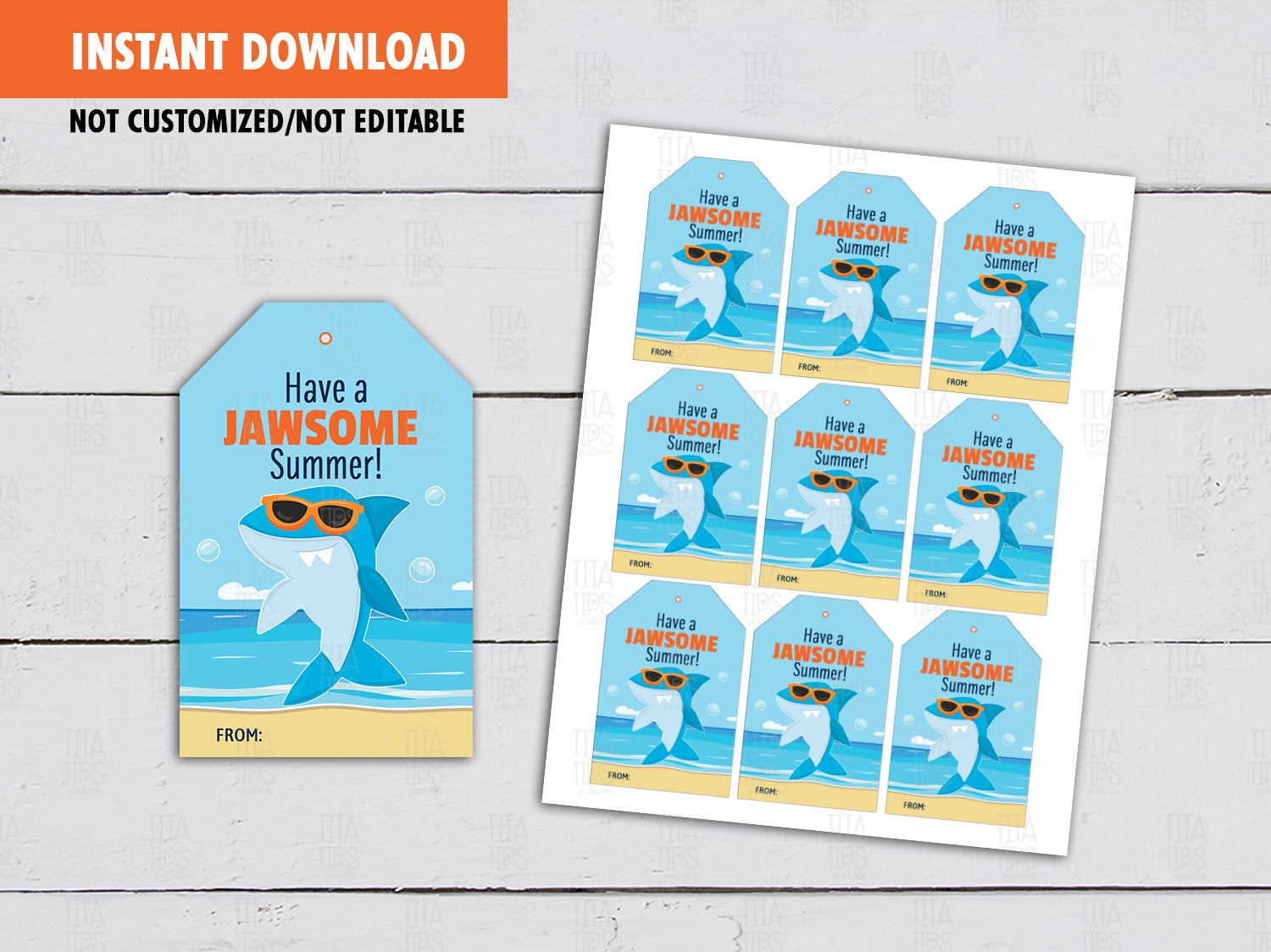 Have a Jawsome Summer Tags, Shark Classmates Gifts Ideas, [INSTANT DOWNLOAD] - TitaTipsPrintables