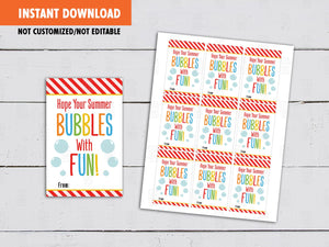 Hope your Summer Bubbles with Fun Gift Tags, End of Year Card, [INSTANT DOWNLOAD] - TitaTipsPrintables