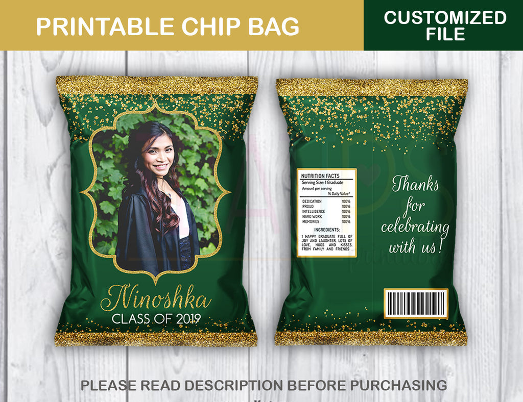 Personalized Prom Favor Chip Bag, Graduation Potato Chip Bag, Green and Gold colors, DIGITAL FILE - TitaTipsPrintables