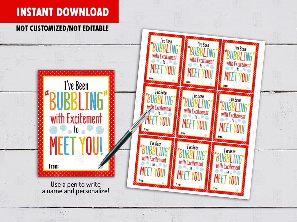 I've Been Bubbling with Excitement to Meet You, Back to School Gifts Ideas, Instant Download - TitaTipsPrintables