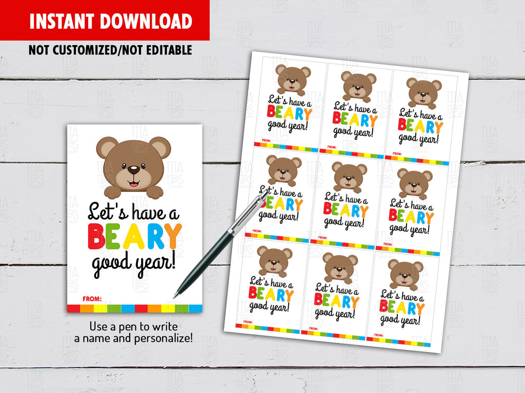 Have a Beary Good Year, Gummy Bears, Plush Bear Tag, Back to School Gifts Ideas, Instant Download - TitaTipsPrintables