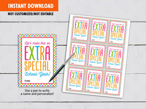 Let's Make this an Extra Special School Year, Back to School Gifts Ideas, Instant Download - TitaTipsPrintables