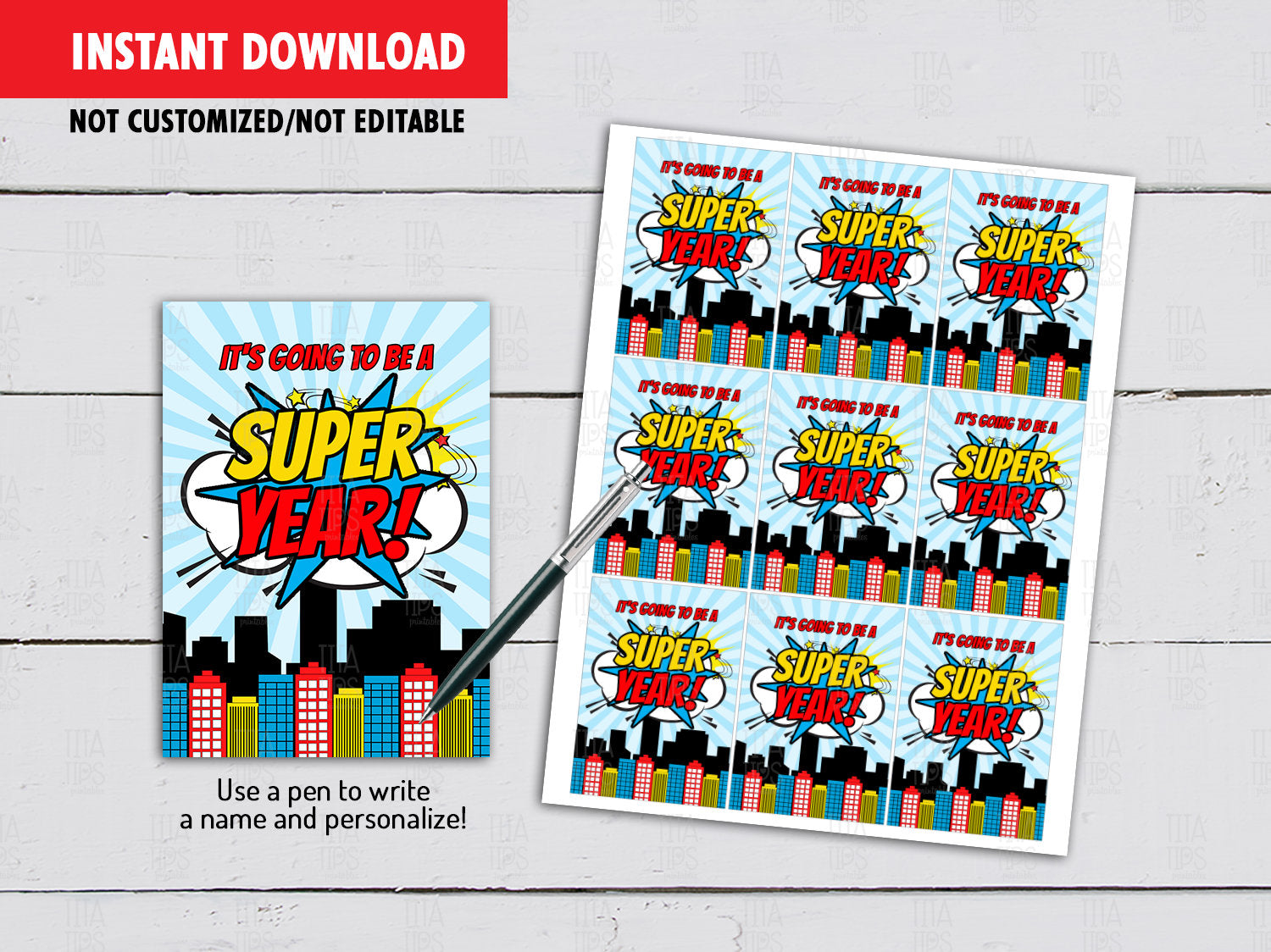 It's going to be a Super Year Tag, Back to School Gifts Ideas, Instant Download - TitaTipsPrintables