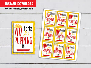 Thanks for Popping in Gifts Tag Ideas, Instant Download - TitaTipsPrintables