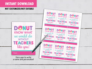 Donut know Teacher Gift Tags, Teacher Appreciation Rectangle Card, Instant Download - TitaTipsPrintables