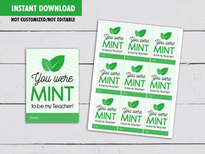 You were mint to be my Teacher Tag, Teacher Appreciation Card, Instant Download - TitaTipsPrintables