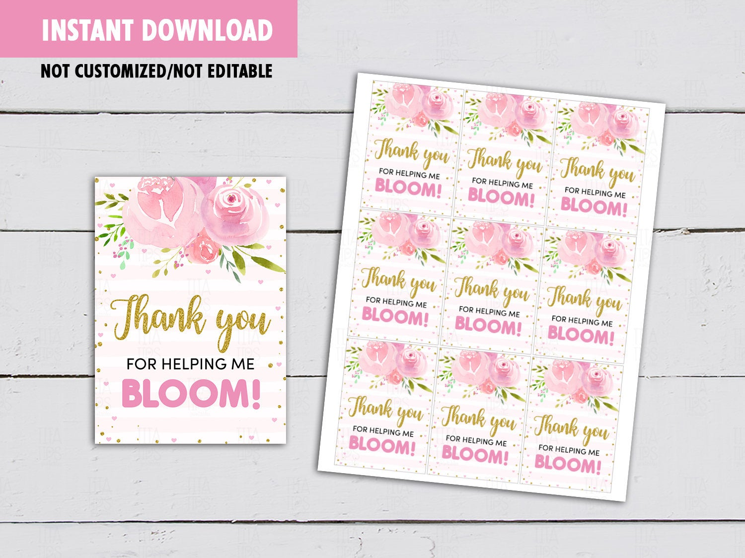 Thank you for helping me Bloom Gift Tag, Teacher Appreciation Card, [INSTANT DOWNLOAD] - TitaTipsPrintables