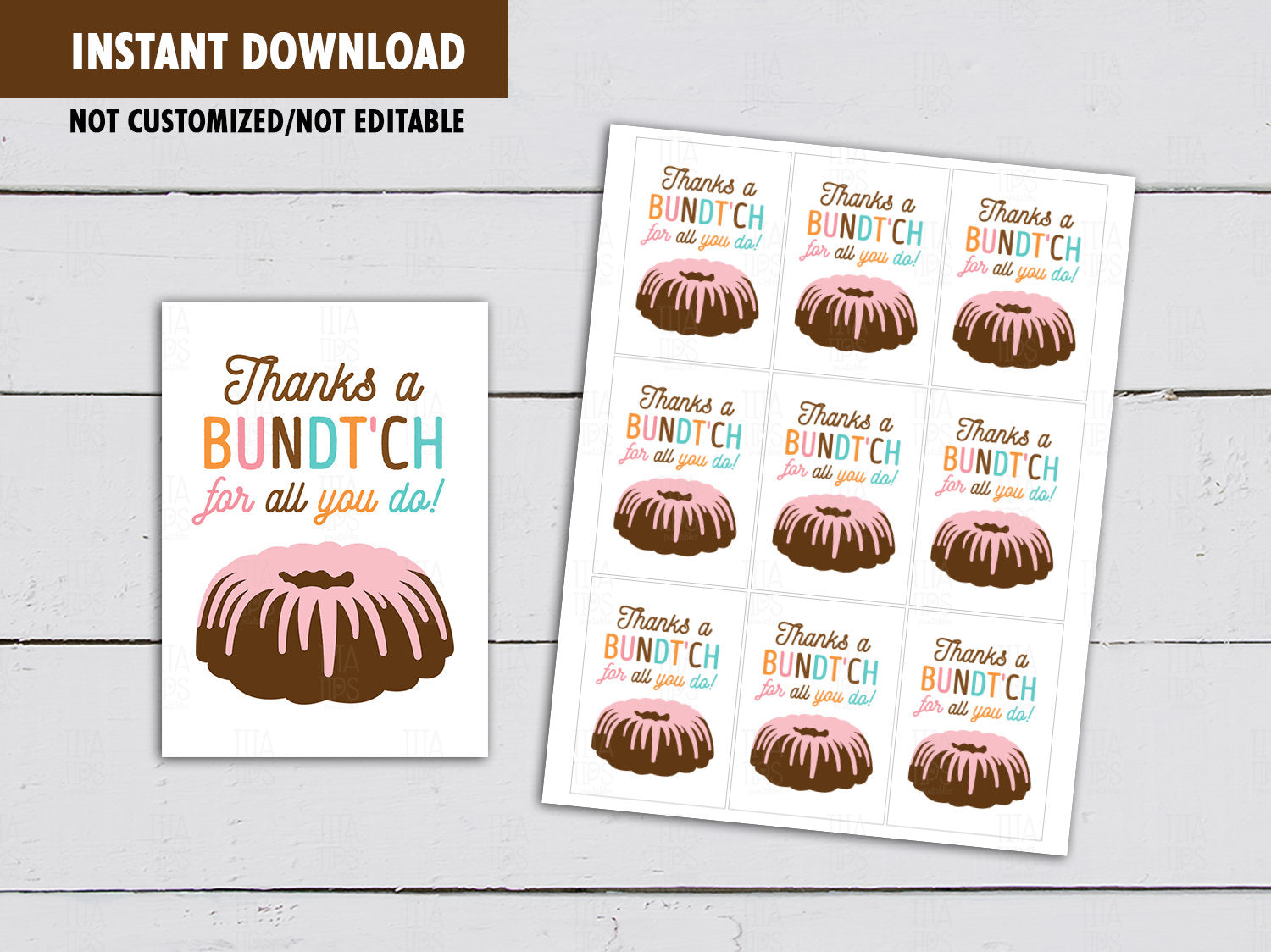 Thanks a Bundtch for all you do Gift Tags, Bundt Cake Card,  Teacher and Staff Appreciation Tag, [INSTANT DOWNLOAD] - TitaTipsPrintables
