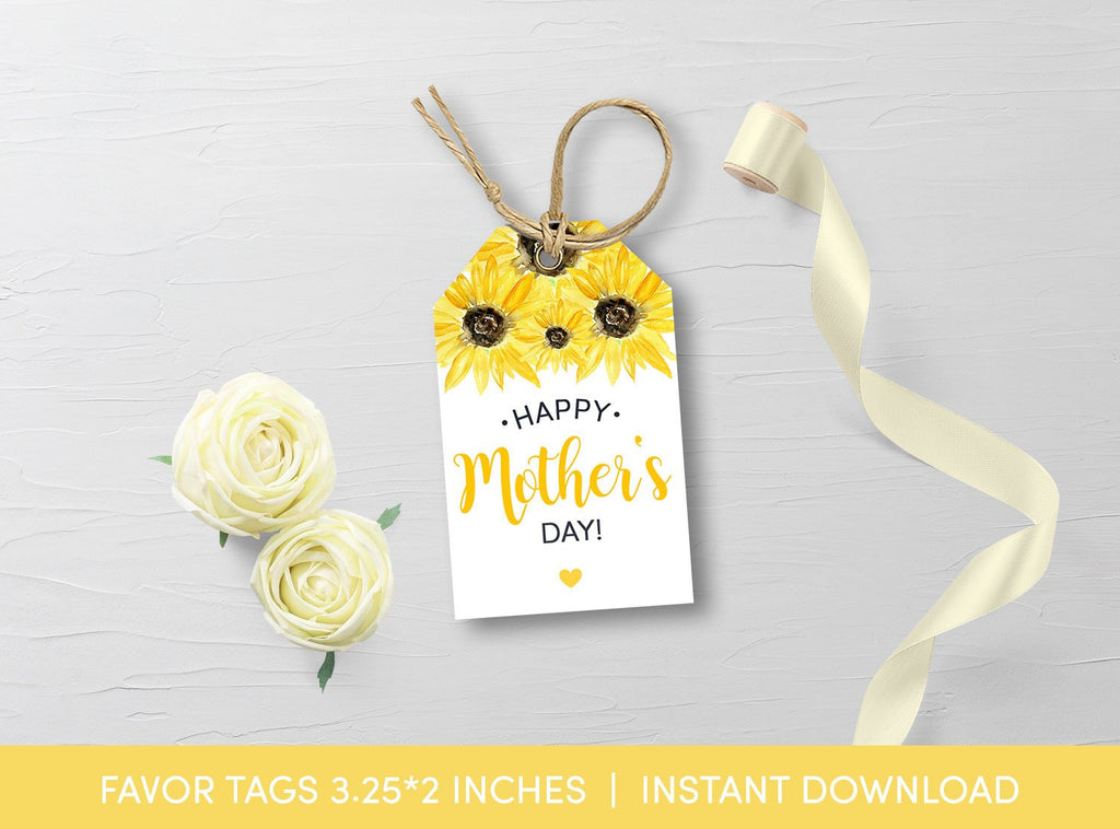 Mother's Day Favor Tag, Watercolor Sunflower Gift Tags, Printable Template, Instant Download - TitaTipsPrintables