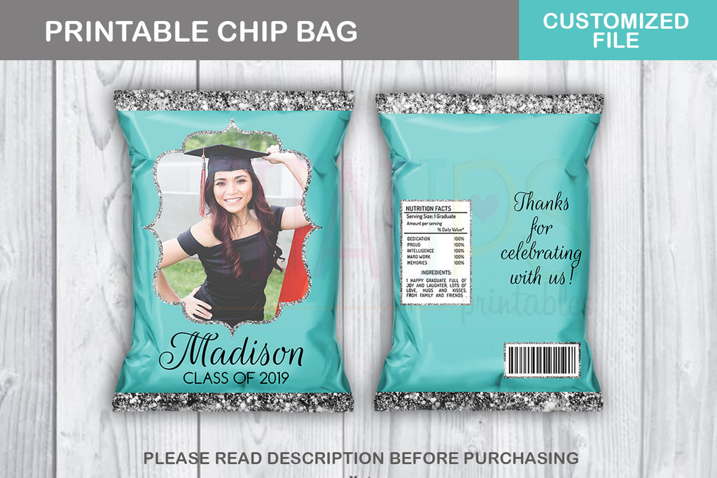 Prom Watch Favor Chip Bag, Graduation Potato Chip Bag, Tiffany and Silver colors, Digital File - TitaTipsPrintables