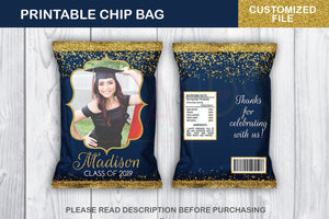 Personalized Prom Favor Chip Bag, Graduation Potato Chip Bag, Blue and Gold Confetti colors, DIGITAL FILE - TitaTipsPrintables