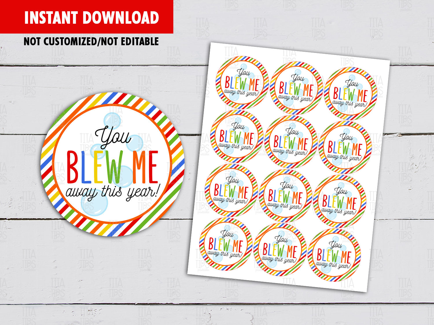 You blew me away this Year Round Labels, Circle DIY Printable, Cupcake Toppers, Instant Download - TitaTipsPrintables