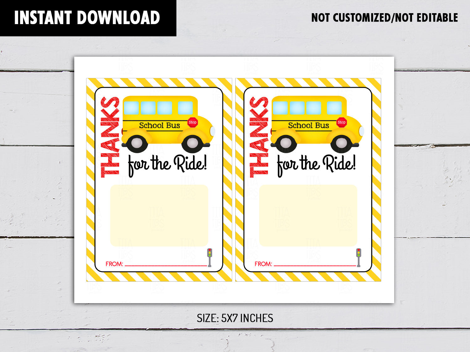 School Bus Driver Gift Card Holder, Thanks for the Ride Printable Card, Instant Download - TitaTipsPrintables