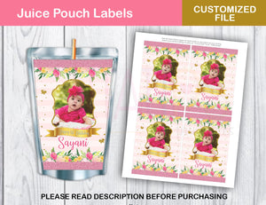 Floral Butterfly Juice Pouch Label Printable, Flowers Wrapper, Customized Digital File - TitaTipsPrintables