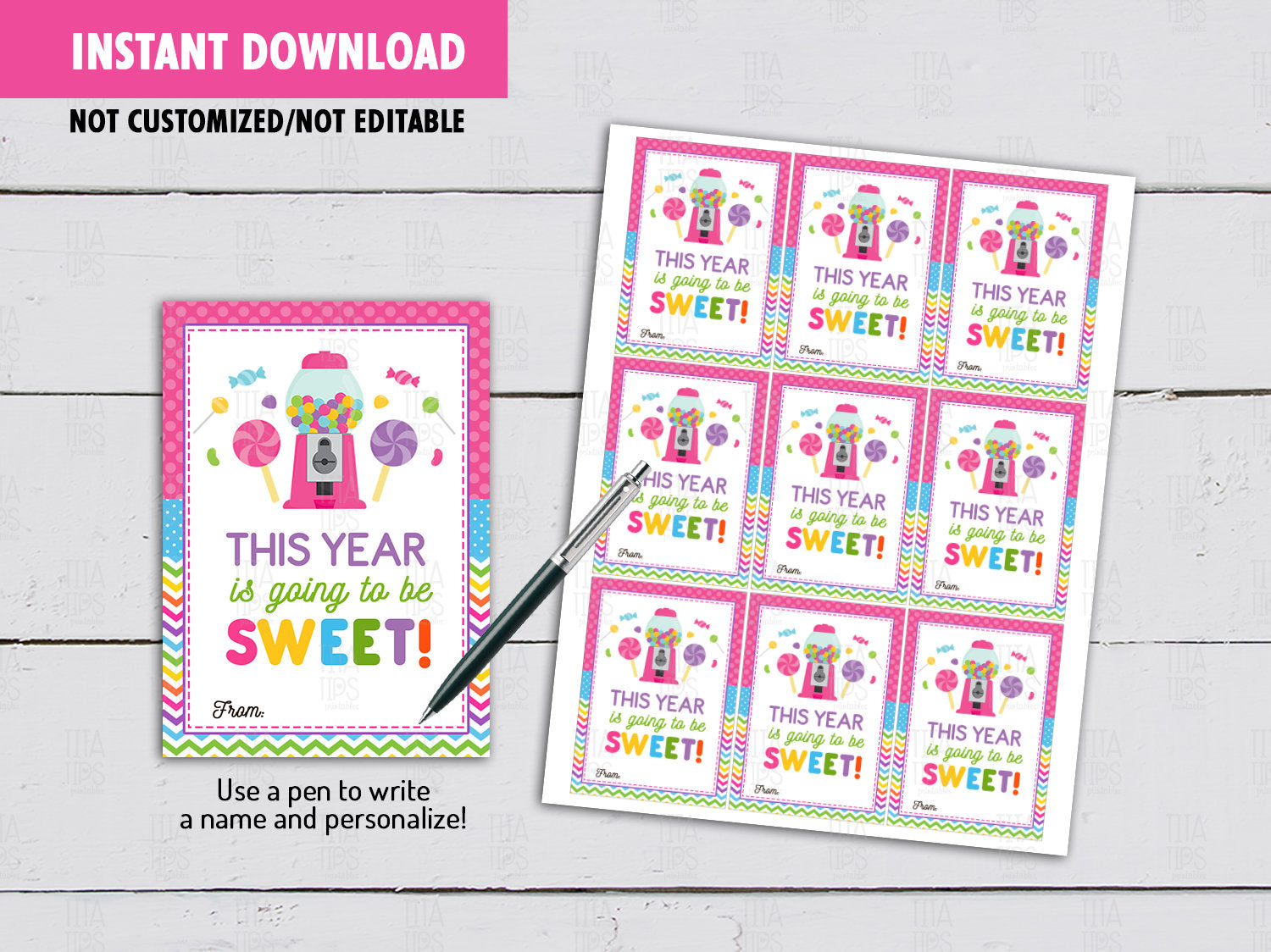 This year is going to be SWEET, Back to School Gifts Ideas, Instant Download - TitaTipsPrintables