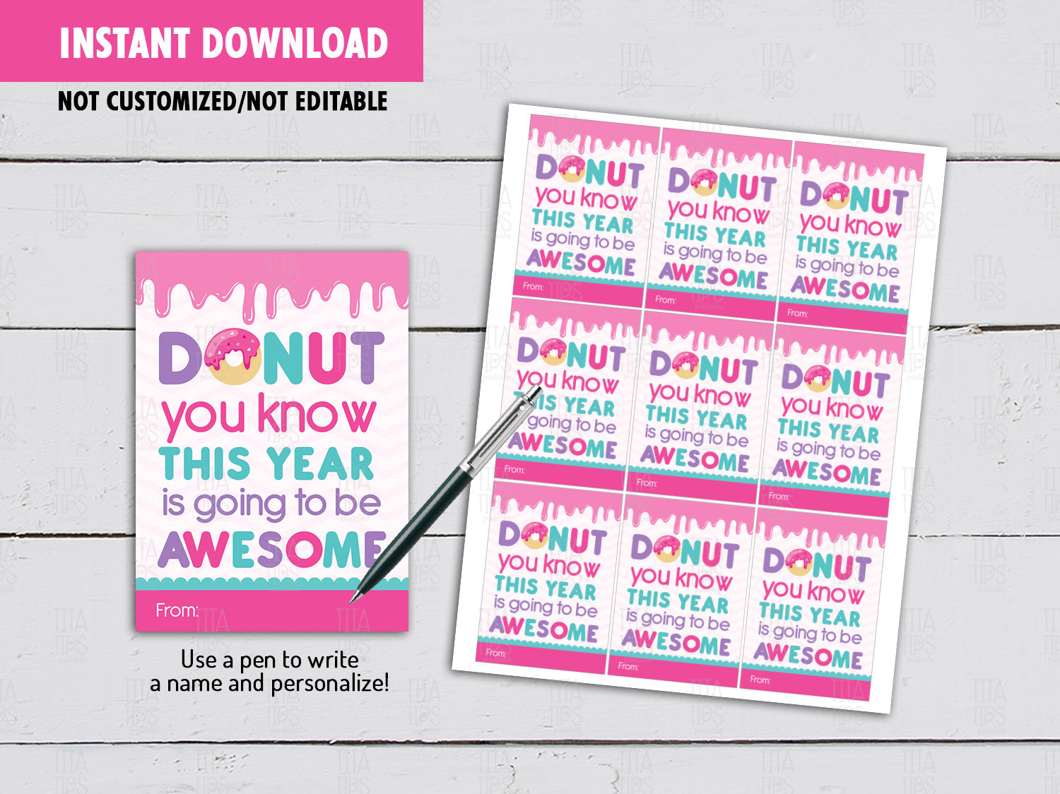 DONUT You Know This Year is Going to be Awesome, Back to School Gifts Ideas, Instant Download - TitaTipsPrintables