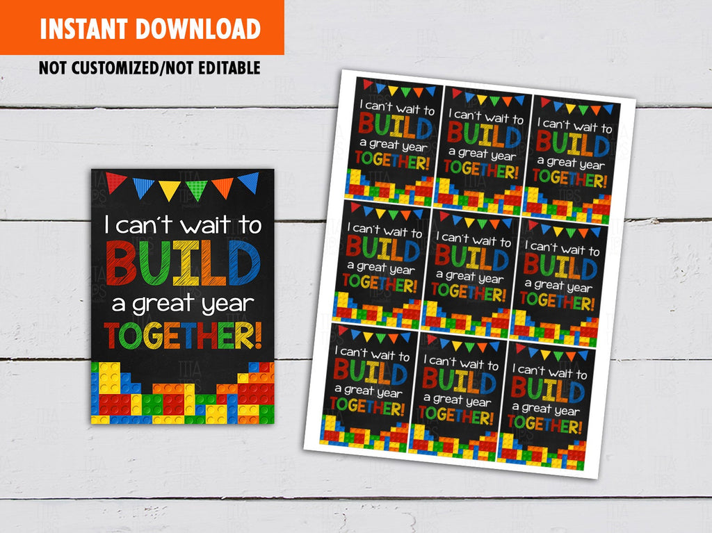 Build a Great Year Together, Building Bricks Back to School Gifts Ideas, [INSTANT DOWNLOAD] - TitaTipsPrintables