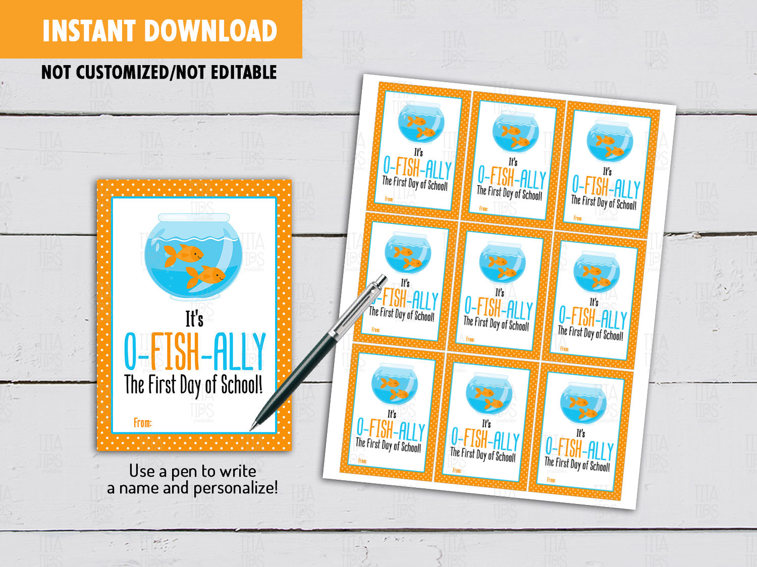 It's O-fish-Ally the first day of school, Golden Fish Back to School Gifts Ideas, Instant Download - TitaTipsPrintables