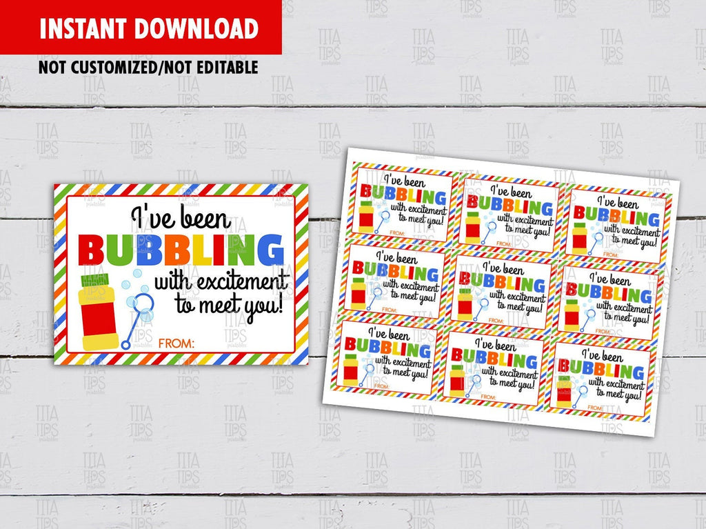 I've been bubbling with excitement to meet you, Classmates Gifts Ideas, Instant Download - TitaTipsPrintables