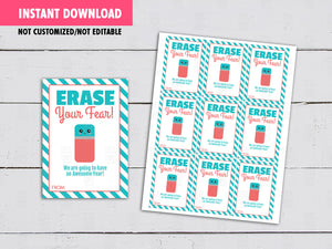 Erase your fear Cards,  Rubber Eraser Gifts Tags Ideas, Back to School [INSTANT DOWNLOAD] - TitaTipsPrintables