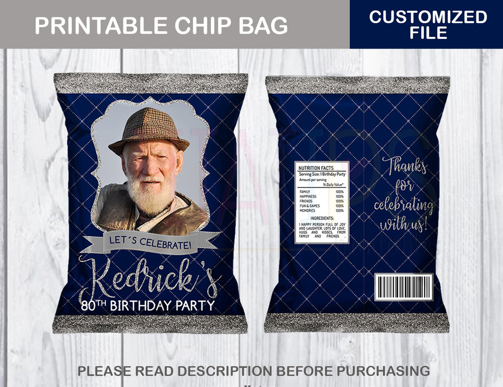 80th Birthday Party Chip Bag, Blue and Silver Adult Favor Bags, ANY AGE, Digital File - TitaTipsPrintables