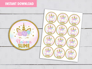 Unicorn Slime Favor Stickers, Slime Label, Instant Download - TitaTipsPrintables