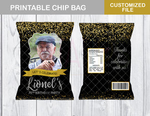 70th Birthday Party Chip Bag, Adult Favor Bags, ANY AGE, Black, Golden and Silver Bag, Digital File - TitaTipsPrintables