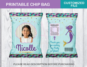 Mermaid Chip Bag, Under the Sea Custom Snack Treat Favor Printable, Digital File - TitaTipsPrintables