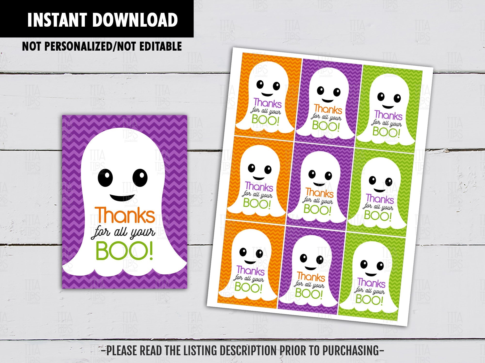 Thanks for your Boo, Halloween Gift Tags Ideas, Bag Toppers, Boo Ghost Party Favors Tags, Neighbor Gift, Instant Download - TitaTipsPrintables